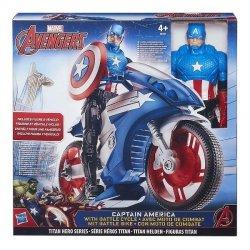 HASBRO AVENGERS TITAN HERO KAPITAN AMERYKA + MOTOR B6157 4+