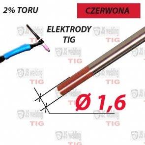 WT20 ELEKTRODA TIG CZERWONA Ø 1,6 mm