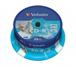 1x25 Verbatim CD-R 80 / 700MB 52x Speed, Data Life plus print.