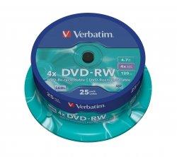 Verbatim DVD-RW 4,7 GB 4x, 25 szt.