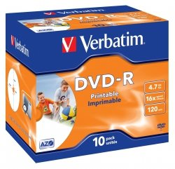 1x10 Verbatim DVD-R 4,7GB 16x Speed, Jewel Case, printable
