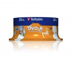 1x25 Verbatim DVD-R 4,7GB 16x Speed, wide printable