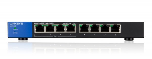 Linksys LGS108P 8-PORT Desktop POE Gigabit Switch