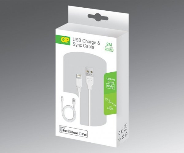 GP CB21 Lade & Sync Cable 2 m Lightning iPhone 5 5s 6 6s SE