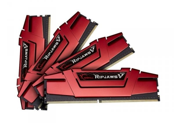 G.Skill 16GB DDR4-2400 Quad-Kit, czerwony F4-2400C15Q-16GVR, Ripjaws V