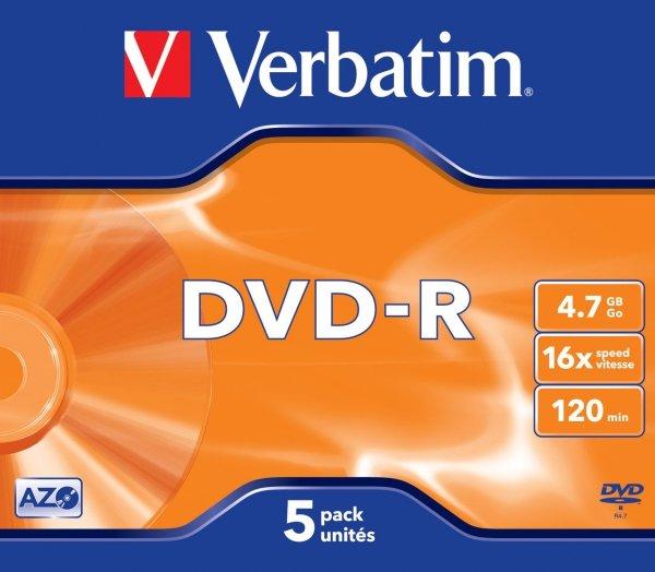 Verbatim DVD-R 4,7 GB 16x, 5 szt.