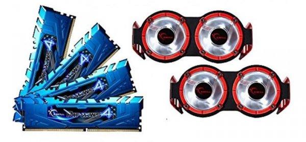 G.Skill 16 GB DDR4-3400 Quad-Kit, niebieski F4-3400C16Q-16GRBD, Ripjaws 4