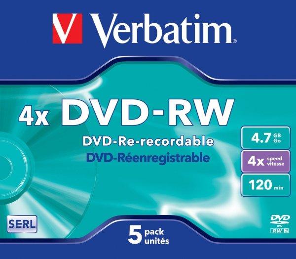 Verbatim DVD-RW 4,7 GB 4x, 5 szt.