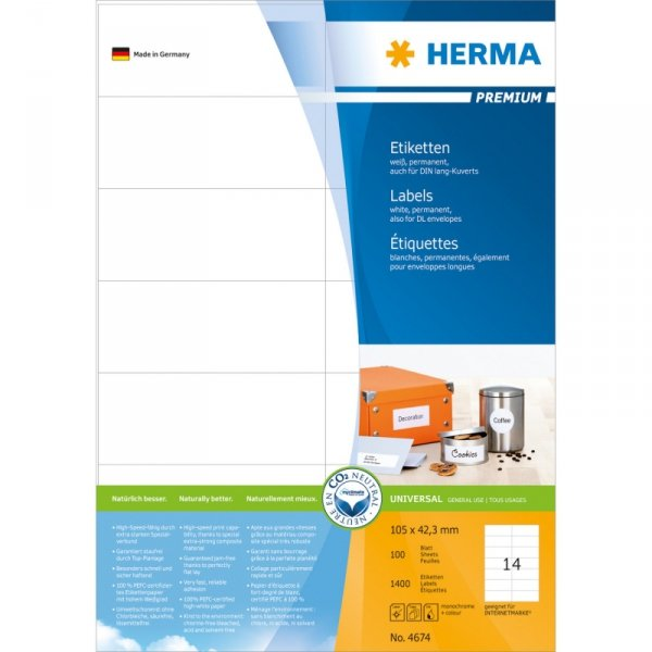 Herma Labels 105x42,3 mm  biały 100 sheets, 1400 pcs.       4674