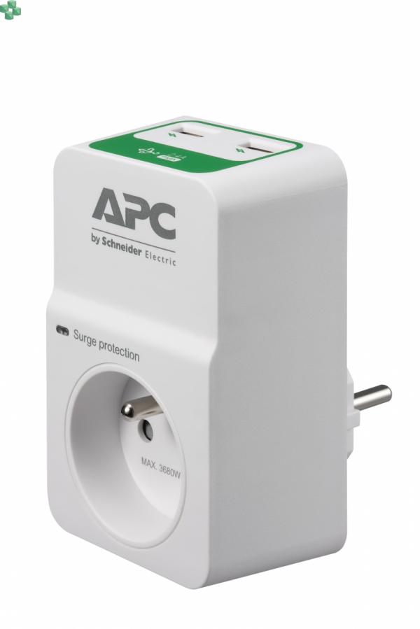 PM1WU2-FR Gniazdo/przejściówka przeciwprzepięciowa z gniazdami USB do ładowania urz. mobilnych - APC Essential SurgeArrest 1 outlet 230V France, 2 x USB charger
