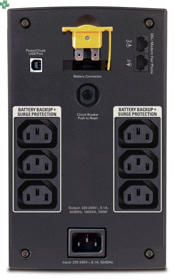 BX1400UI APC Back-UPS 1400 VA/700W, 230 V, AVR, gniazda IEC