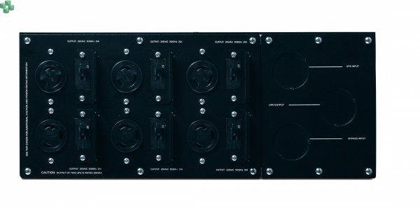 SBP10KRMI4U Panel obejścia serwisowego APC — 230 V; 100 A; MBB (najpierw zwarcie, potem rozwarcie); wejście podłączone na stałe; wyjście IEC-320 — (8) C13 (2) C19