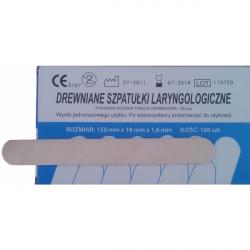 Szpatułki Laryngologiczne Drewniane Jałowe Pojedynczo Pakowane - op. 100szt.