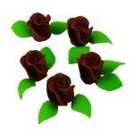Zestaw RÓŻA DUŻA CZEKOLADOWA z listkami - kwiaty cukrowe
