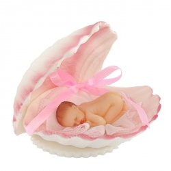 Bobas w muszelce różowy - dekoracja na chrzest baby shower