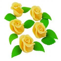 Zestaw RÓŻA DUŻA ŻÓŁTA z listkami - kwiaty cukrowe