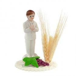 Chlopiec z kłosem - figurka/dekoracja cukrowa na tort