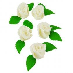 Zestaw RÓŻA DUŻA BIAŁA z listkami - kwiaty cukrowe
