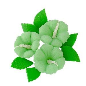 Zestaw cukrowe kwiaty HIBISKUS z listkami ZIELONY