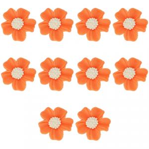 Kwiatki cukrowe na tort NIEZAPOMINAJKA (8x10szt) pomarańczowe