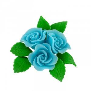 Zestaw cukrowe kwiaty na tort 3 RÓŻE MINI MAX z listkami NIEBIESKI