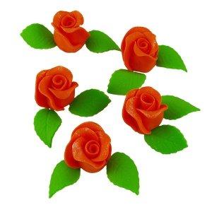 Zestaw RÓŻA DUŻA POMARAŃCZOWA z listkami - kwiaty cukrowe