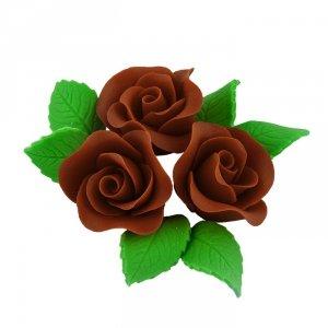 Zestaw cukrowe kwiaty na tort 3 RÓŻE MINI MAX z listkami CZEKOLADOWY