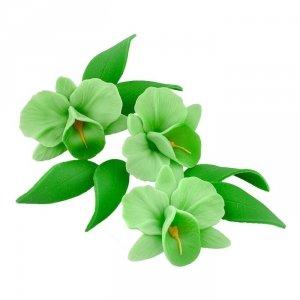Zestaw cukrowe kwiaty na tort STORCZYK z listkami ZIELONY