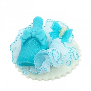Cukrowa buteleczka z motylkiem - niebieska - dekoracja na chrzest baby shower