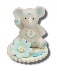 Hokus - Słonik z kwiatkiem niebieski - Figurka na tort