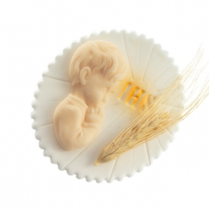 Hostia z chłopcem i kłosem stojąca - dekoracja cukrowa