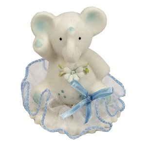 Hokus - Słonik z kwiatkiem niebieski na tiulu - Figurka na tort