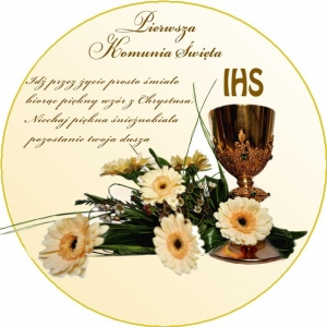 Hokus - opłatek na tort komunijny okrągły Kwiaty