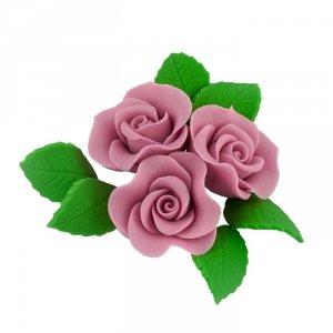 Zestaw cukrowe kwiaty na tort 3 RÓŻE MINI MAX z listkami WRZOSOWY