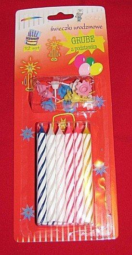Świeczki urodzinowe na podst. grube 8,5 cm 12szt