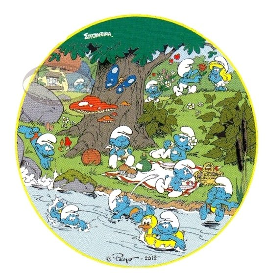 Kardasis - opłatek na tort okrągły Smurfy nad rzeką
