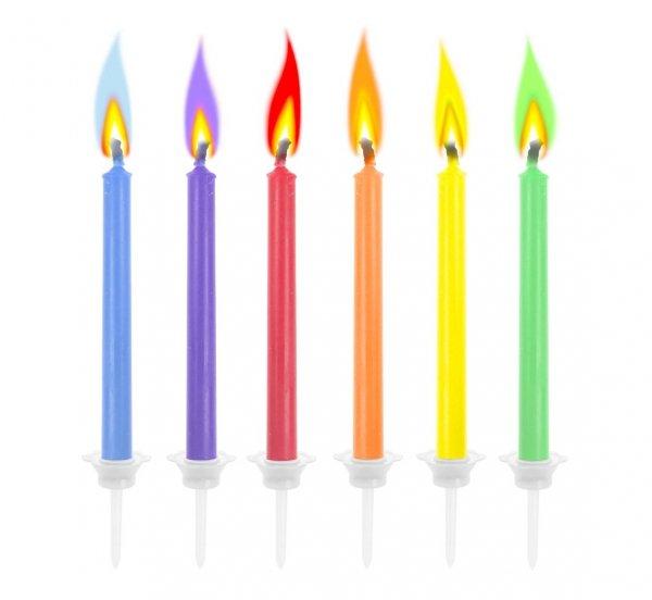 Świeczki urodzinowe Kolorowe płomienie 6 szt.