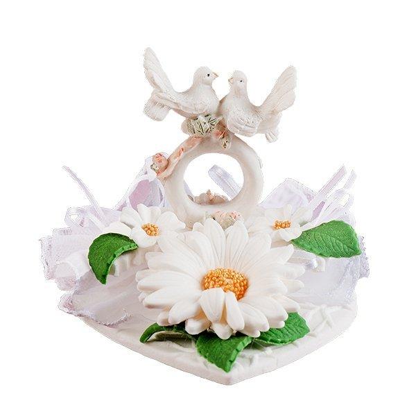 Dekoracja ślubna - Małe gołąbki na obrączce