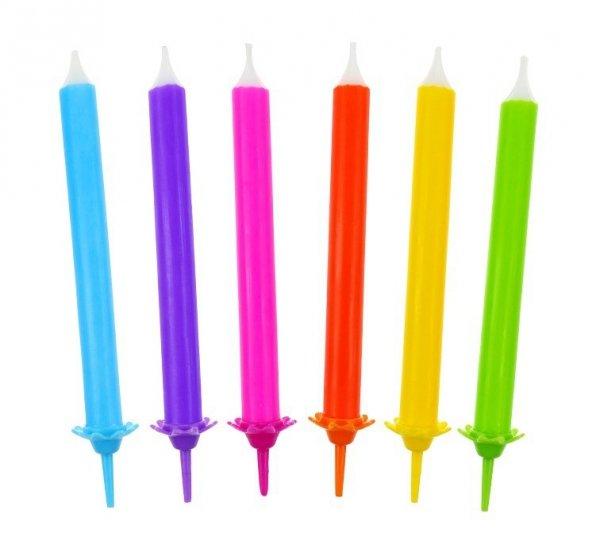 Świeczki urodzinowe tęcza 12 szt.