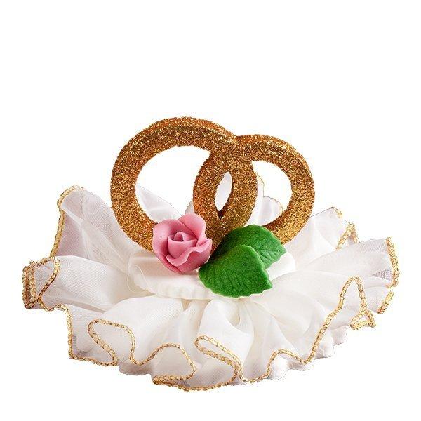 Dekoracja ślubna - obrączki z kwiatkiem na tiulu