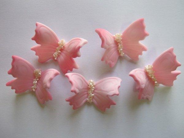 Motylki cukrowe duże różowe 10 x 5 szt.