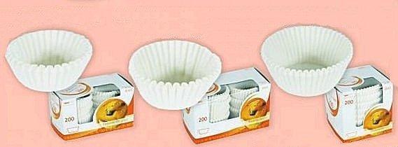 Papilotki - foremki do mufinek białe fi 45 mm 200 szt.
