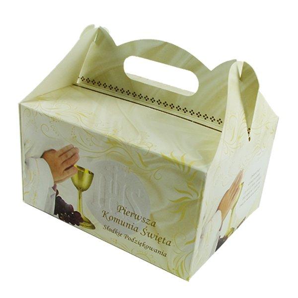 Ozdobne pudełko na ciasto komunijne - 1 szt. - Pierwsza Komunia Święta