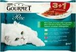 GOURMET Perle - Mini fileciki z warzywami w sosie 4x 85g (z cielęciną i warzywami, z dziczyzną i warzywami, z wołowiną i marchewką, z pstrągiem i szpinakiem). Dla dorosłych kotów. 3+1 gratis