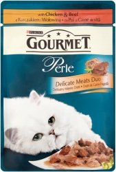 GOURMET Perle - Mięsny Duet z kurczakiem i wołowiną w sosie 85g. Dla dorosłych kotów.