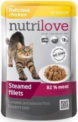 Nutrilove Premium Gotowane na parze delikatne fileciki z kurczakiem w sosie dla kota 85g