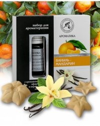 Aromatherapy Set with Pure Essential Oils and Ceramic Asterisks Vanilla & Tangerine