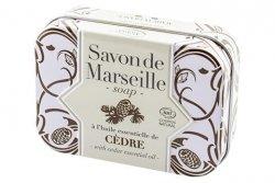 Cedarwood Marseille Soap Bar in Metal Box, Alepia, 100 g