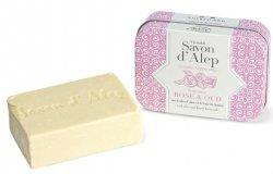 Rose & Oud Soap Bar in Metal Box, Alepia, 100 g