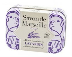 Lavender Marseille Soap Bar in Metal Box, Alepia, 100 g
